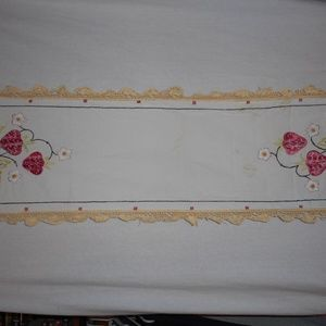 Vintage strawberry embroidered Runner 17 x 38 inch